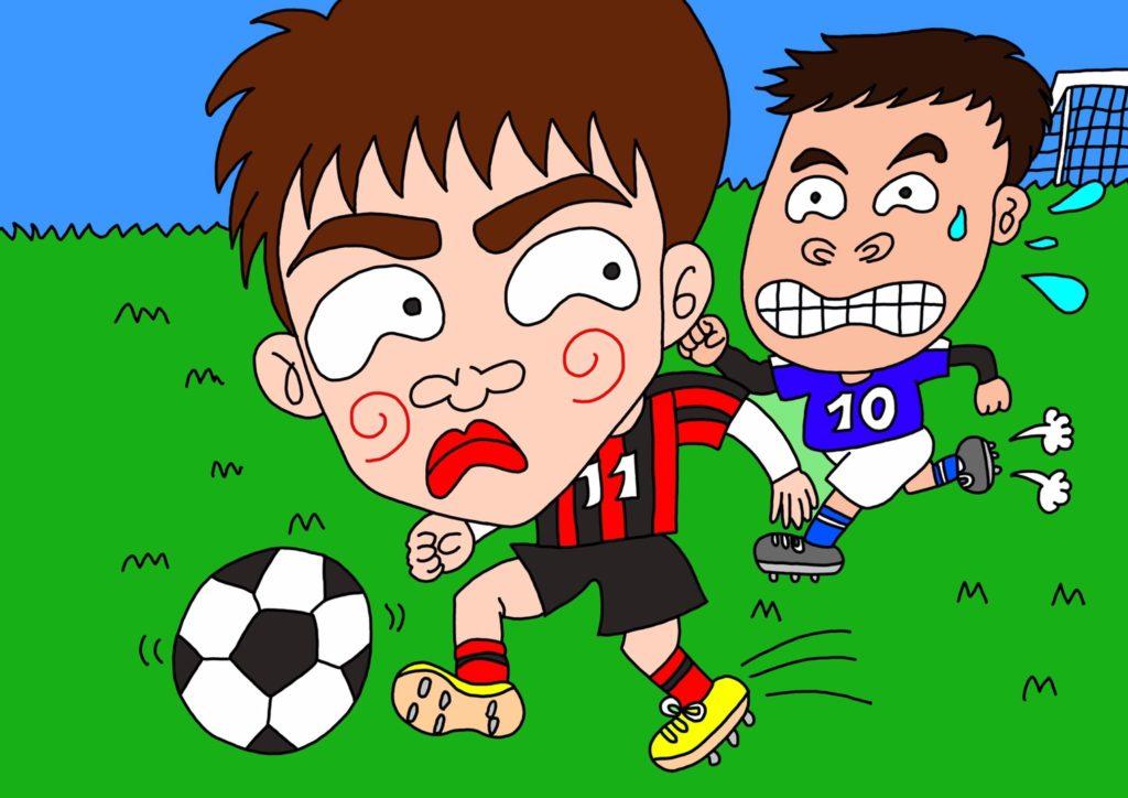 サッカーをする子供たちのオリジナルイラスト