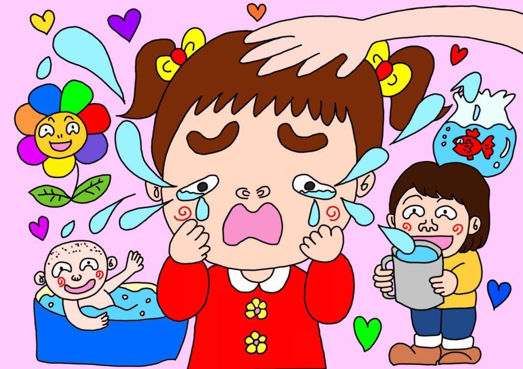悲しむ女の子のオリジナルイラスト